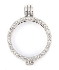 Munthanger zilver kleurig strass 35mm
