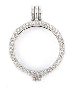 Munthanger zilver kleurig strass 27mm
