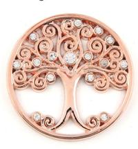 Munt 33mm rosé-goud levensboom met strass