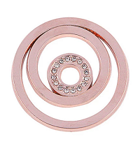 Munt 25mm rosé-goud cirkels met strass