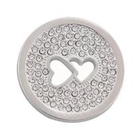 Munt 25mm zilver dubbel hart met strass
