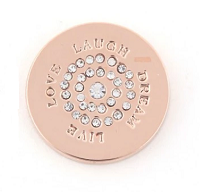 Munt 25mm rosé-goud live love laugh dream met strass