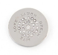 Munt 25mm zilver live love laugh dream met strass