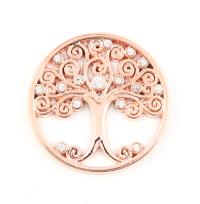 Munt 25mm rosé-goud levensboom met strass