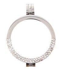 Munthanger RVS zilver kleurig half strass 35mm