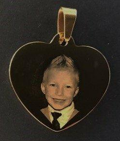 Fotosieraad RVS goud 33mm L hart met foto en tekst
