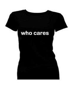 T-shirt dames korte mouw bedrukt: Who cares