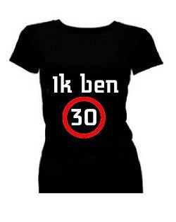 T-shirt dames korte mouw bedrukt: Ik ben 30 / 40 / 50