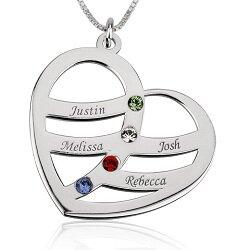 4 namen - Naamketting hart sterling zilver 925 met 4 namen en geboortestenen
