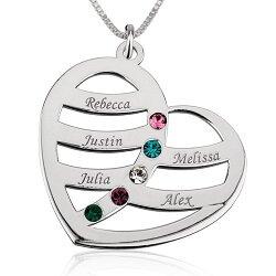 5 namen - Naamketting hart sterling zilver 925 met 5 namen en geboortestenen