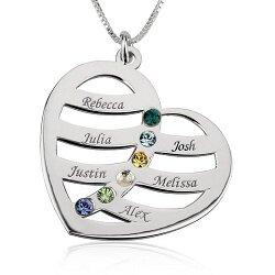 6 namen - Naamketting hart sterling zilver 925 met 6 namen en geboortestenen