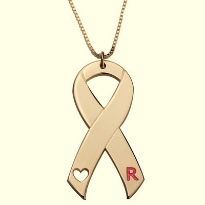 Naamketting Pink Ribbon sterling 24K gold plated met letter