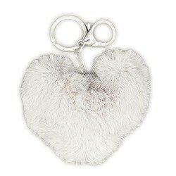 Tassen/sleutelhanger furry bont hart gebroken wit