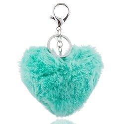 Tassen/sleutelhanger furry bont hart aqua blauw