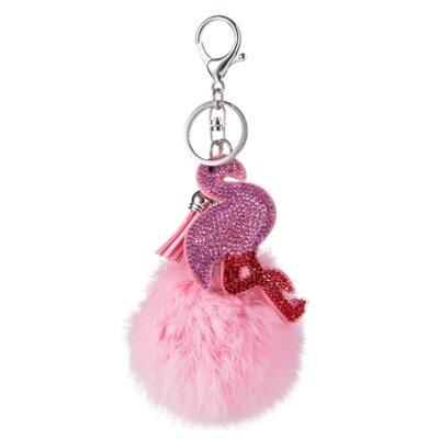 Tassen/sleutelhanger furry bont roze met strass flamingo