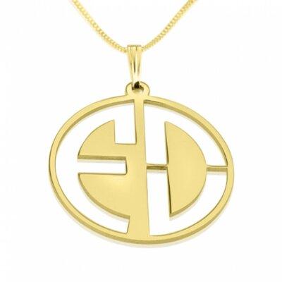 Naamketting vader - 2 letter monogram 24K verguld goud