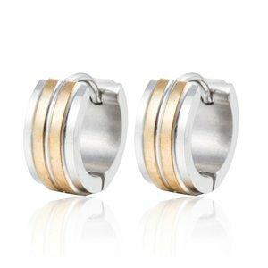 Oorbellen RVS zilver met goud creolen