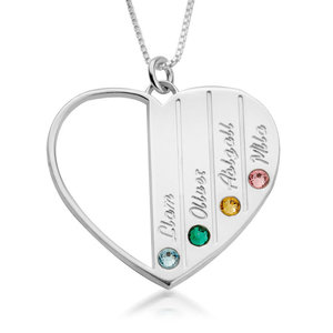 2 namen - Naamketting hart met Geboortestenen en Namen
