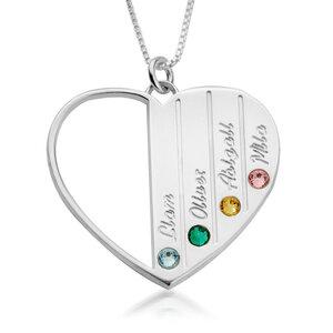5 namen - Naamketting hart met Geboortestenen en Namen