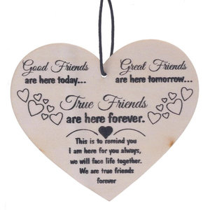 Houten Decoratie Hart True Friends